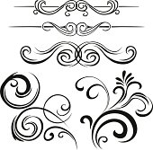 Various ornate swirling motifs in Black