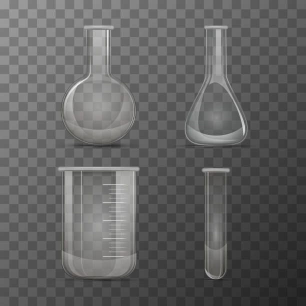 Different transparent vials and flasks for chemicals experiments Set of different transparent vials and flasks for chemicals experiments beaker stock illustrations