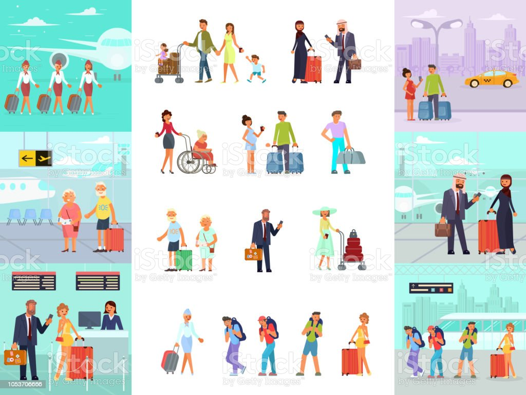 Different travelers characters vector art illustration