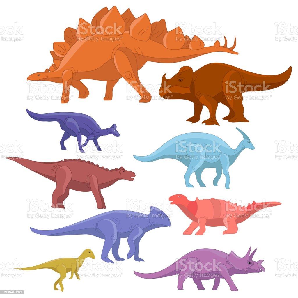 Different type of cartoon dinosaurs cute monster set. Dinosaur  collection vector art illustration