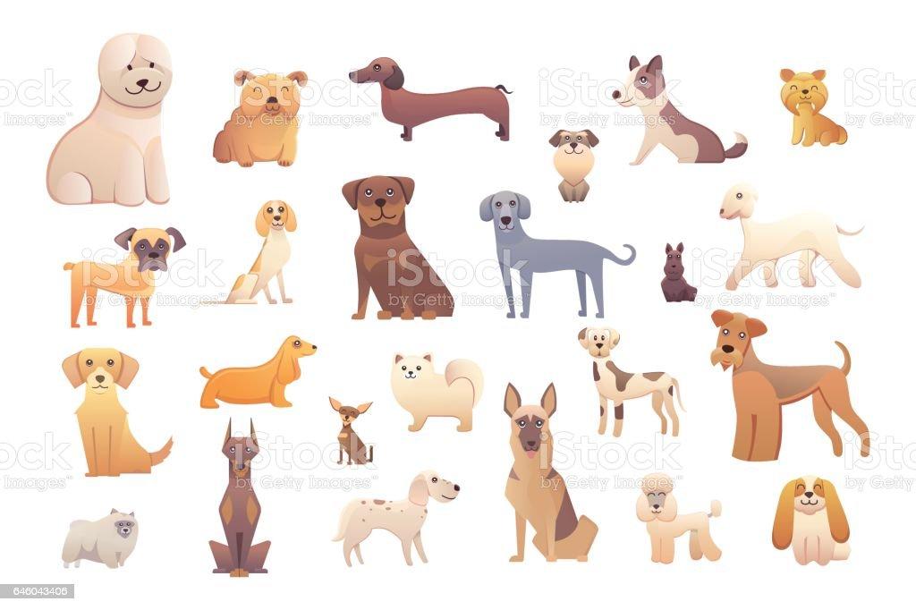 Diferentes tipos de perros de dibujos animados. perro feliz conjunto ilustración vectorial. - ilustración de arte vectorial