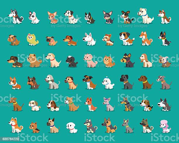 Different Type Of Cartoon Dogs Stock Illustration - Download Image Now