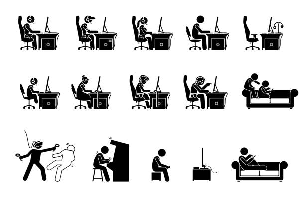different type of gamers. - old man stick figure silhouette stock illustrations, clip art, cartoons, & icons