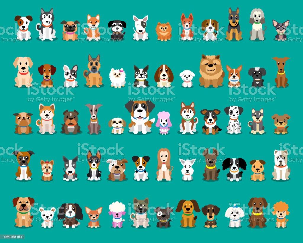 Diferentes tipos de perros de dibujos animados de vector - ilustración de arte vectorial