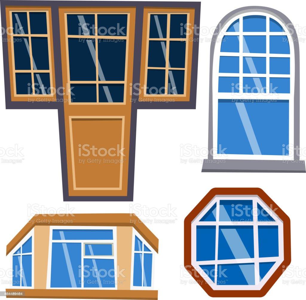 Verschiedene Arten Beherbergen Windows Elemente Flach Stil Rahmen ...