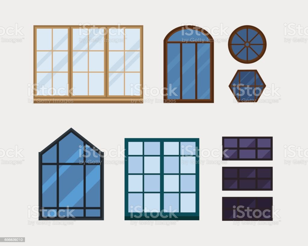 Different Types House Windows Elements Isolated Set Flat