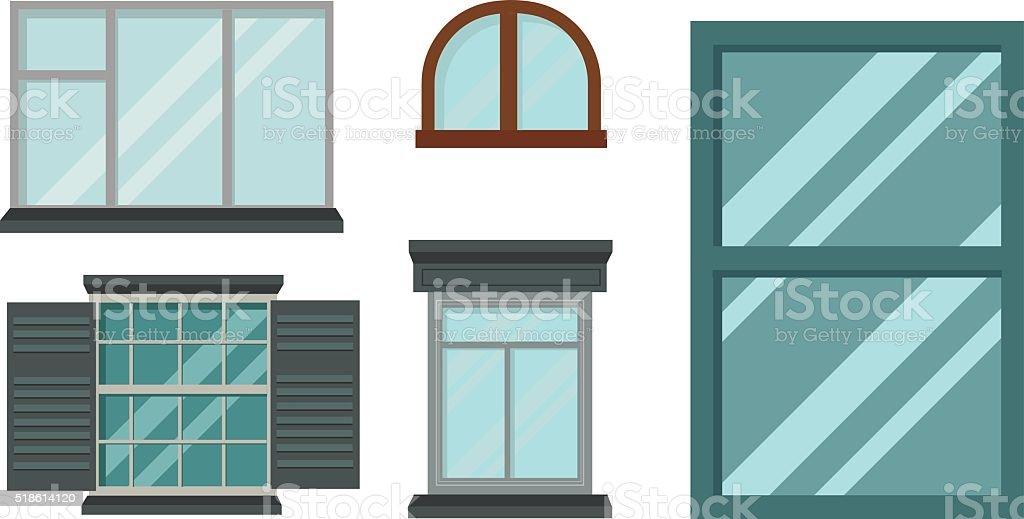 Arten Haus Fenster Vektorelemente Isoliert Auf Weisser Hintergrund