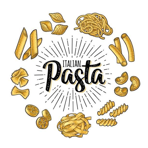 Different types macaroni and ITALIAN PASTA lettering. Vector engraving Different types macaroni and ITALIAN PASTA calligraphic handwriting lettering. Farfalle, conchiglie, maccheroni, fusilli, penne, pipe, spaghetti, ruote, fettuccine. Vector vintage color engraving conchiglie stock illustrations
