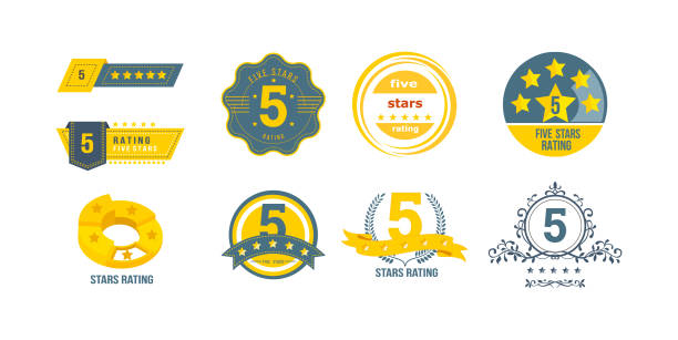 Different types of 5 stars rating. Concept of feedback, reviews, notifications. Different types of 5 stars rating, rating stamp, badge. Concept of feedback, reviews, voting for collecting statistics. Customer service rating on five-point scale. Badge logo template set vector rating stock illustrations