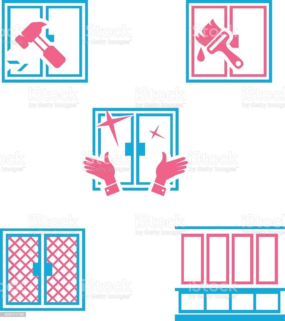 Verschiedene Arten Von Massnahmen Mit Fenster Stock Vektor Art Und