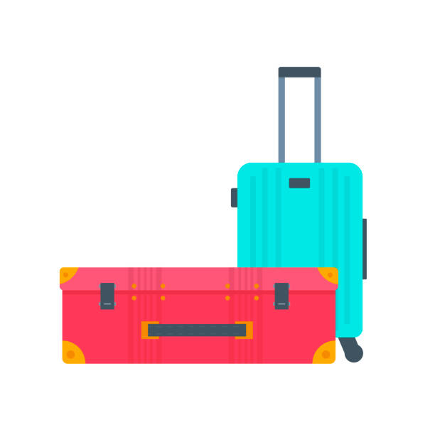 Different types of baggage, luggage, suitcase isolated on white Different types of baggage, luggage, suitcase isolated on white background. Flat style vector illustration. Set of tourism and traveling icons with voyage packing and handbag. airport clipart stock illustrations