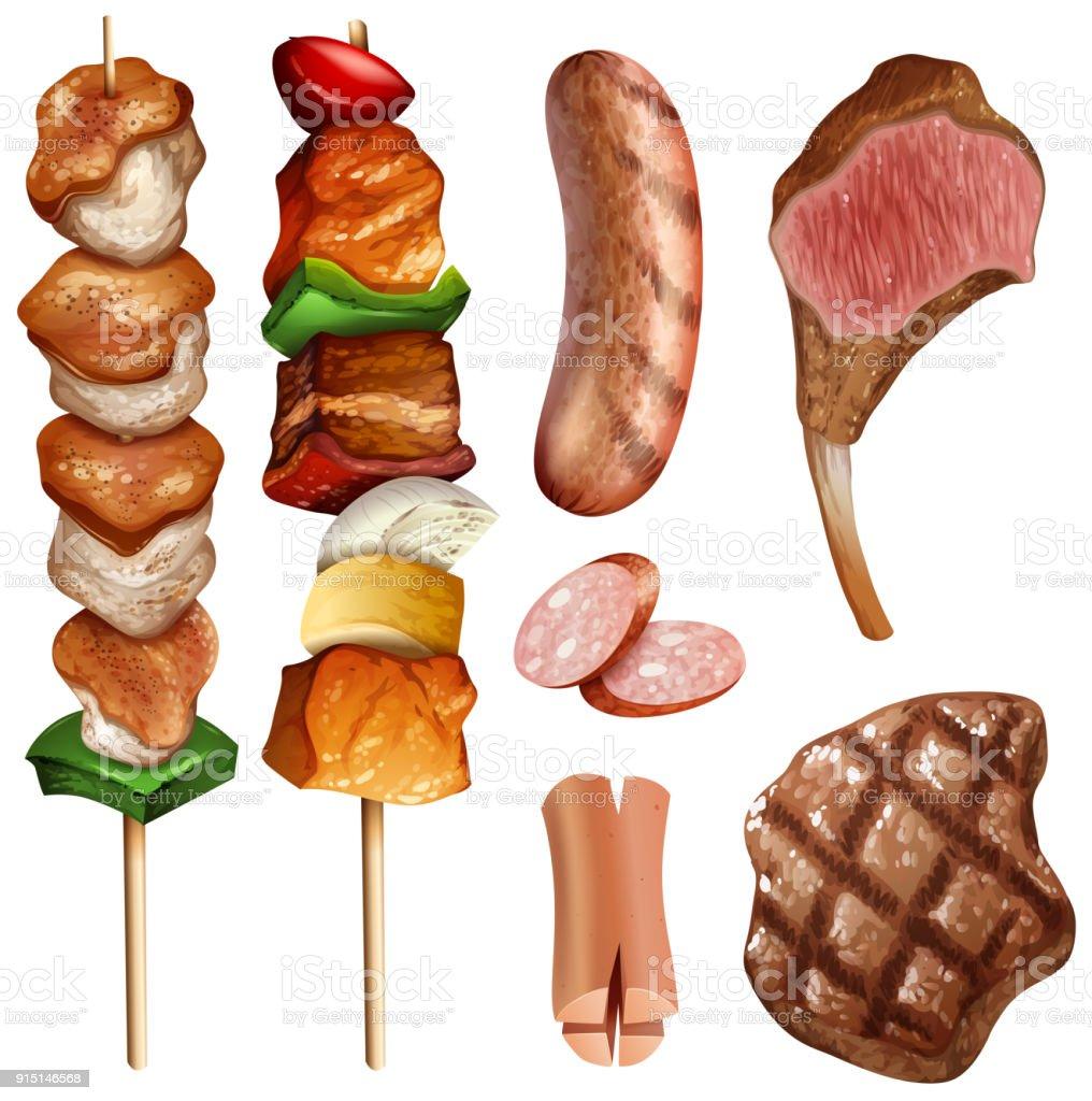 Verschiedene Arten von Bbq und steaks – Vektorgrafik