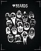 different types of beards illustration on blackboard background