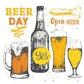 Different types of beer and cider. Beer set. Pub menu.