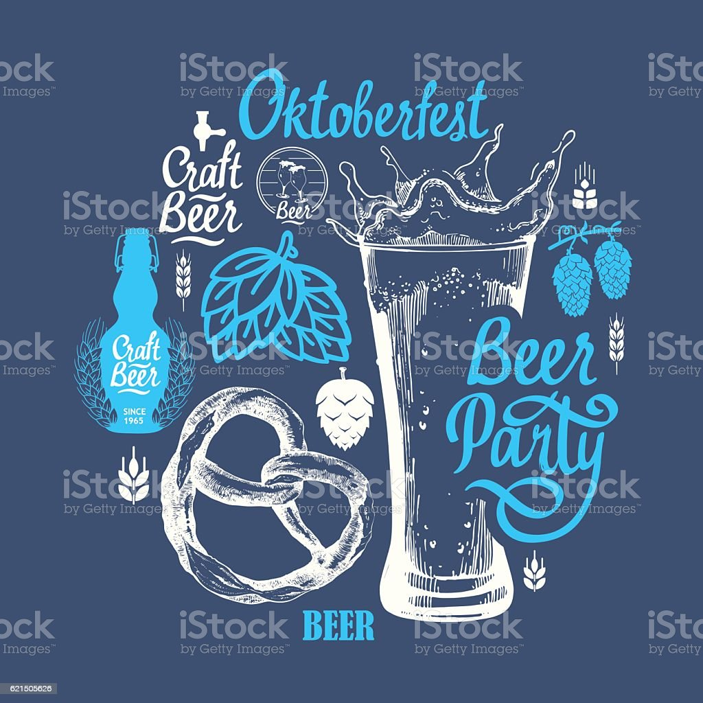 Different types of beer, cider and snack in sketch style Lizenzfreies different types of beer cider and snack in sketch style stock vektor art und mehr bilder von alkoholisches getränk