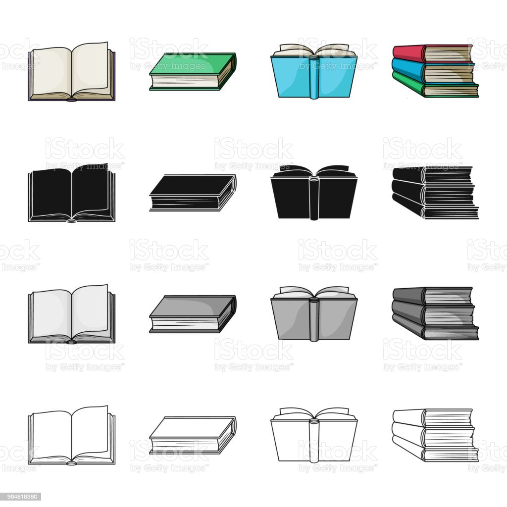 Different types of books, literature, textbook, dictionary. Book set collection icons in cartoon black monochrome outline style vector symbol stock illustration web. royalty-free different types of books literature textbook dictionary book set collection icons in cartoon black monochrome outline style vector symbol stock illustration web stock vector art & more images of book