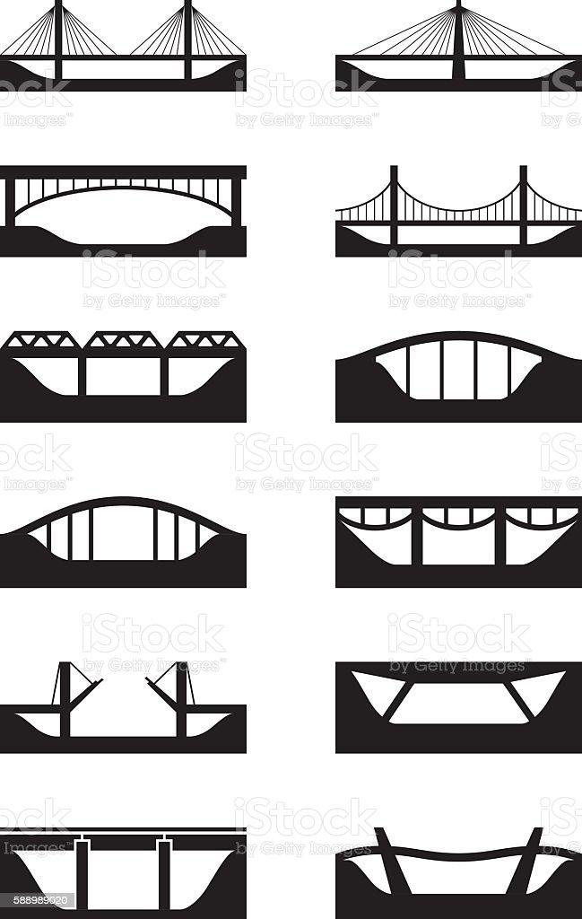 Different types of bridges vector art illustration