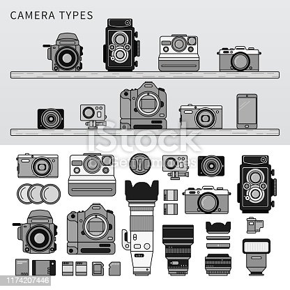 Line icons monochrome design of different cameras on the wooden shelves. Cameras in the shop on the shelves, vintage and modern cameras with object-glasses isolated on white