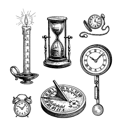 Different types of clocks.