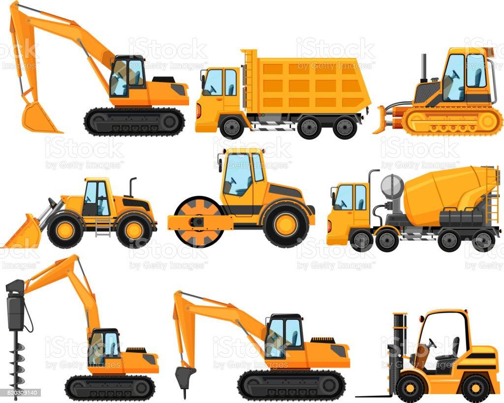 Verschiedene Arten von Baufahrzeuge – Vektorgrafik