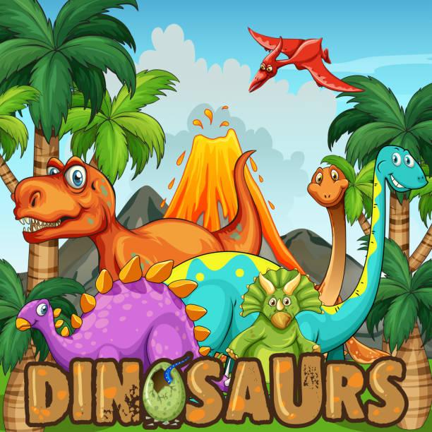 verschiedene arten von dinosauriern durch den vulkan - eiszeit stock-grafiken, -clipart, -cartoons und -symbole