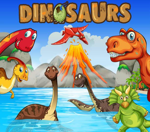 verschiedene arten von dinosauriern im ozean - eiszeit stock-grafiken, -clipart, -cartoons und -symbole