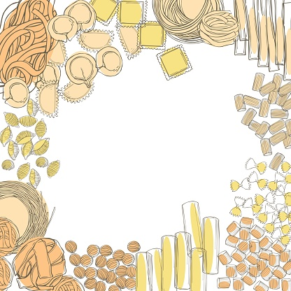 Different types of dry Italian pasta.