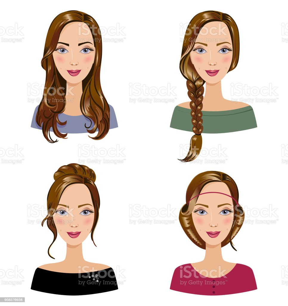 Different types of female hair styles. Set of beautiful young girls with various hairstyle. Women's portraits on a white background. vector art illustration
