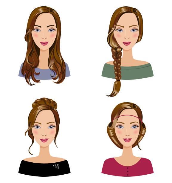 ilustraciones, imágenes clip art, dibujos animados e iconos de stock de diferentes tipos de estilos de cabello en la mujer. conjunto de hermosas jovencitas con peinado diferentes. retratos de la mujer sobre un fondo blanco. - cabello castaño