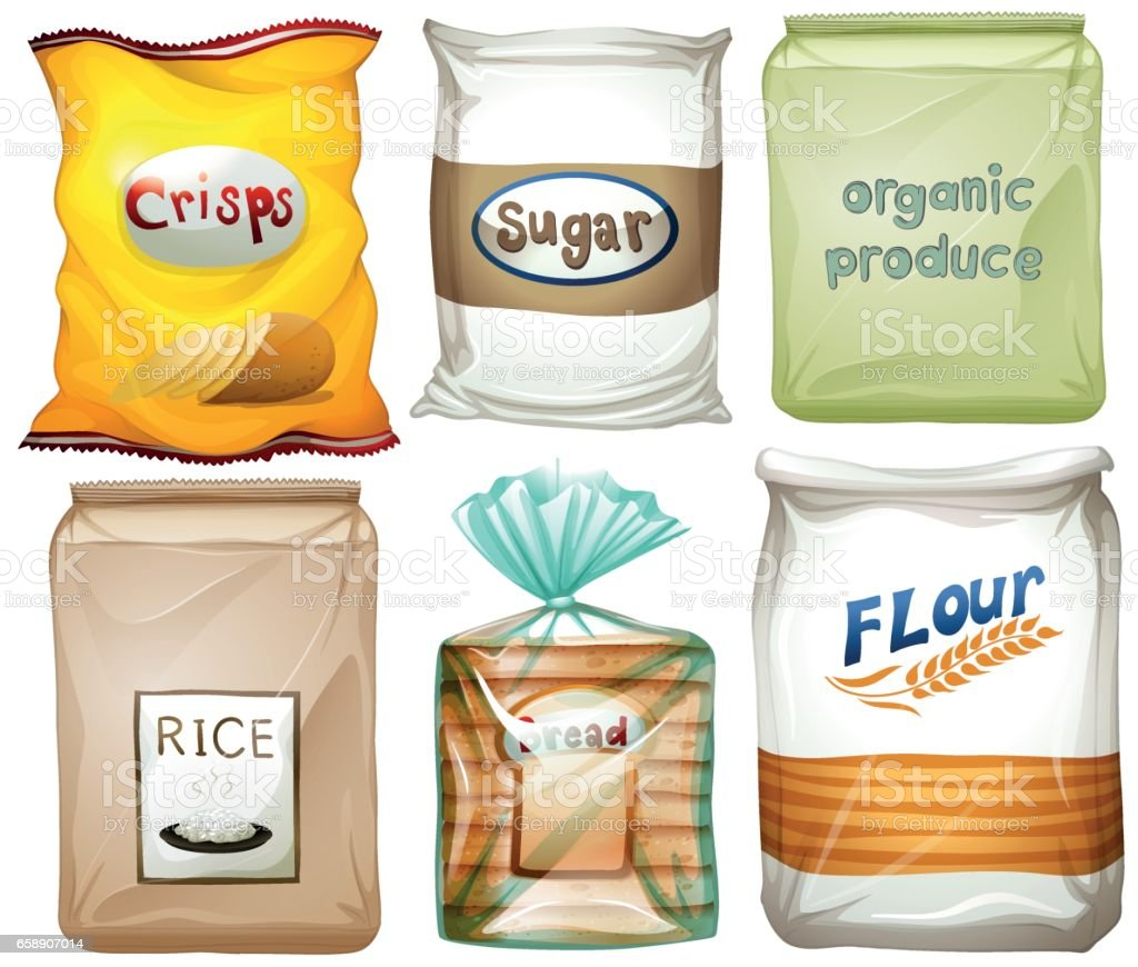 Different types of food in bags vector art illustration