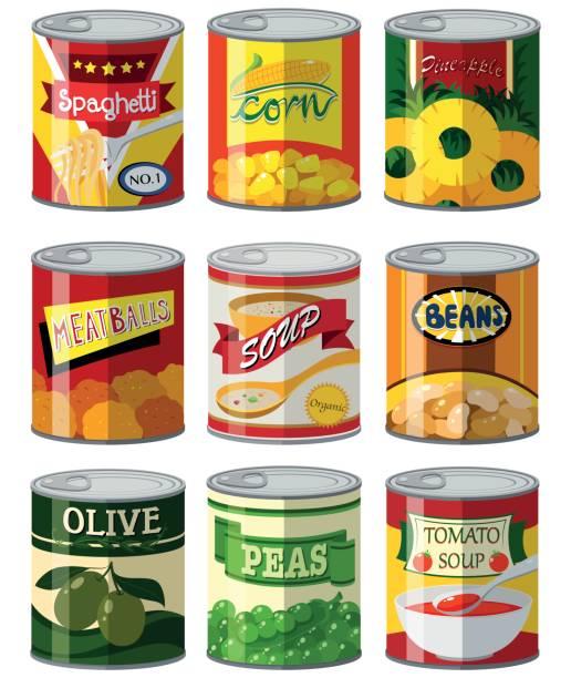 ilustrações de stock, clip art, desenhos animados e ícones de different types of food in can - latão