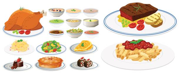 Different types of food on plates vector art illustration