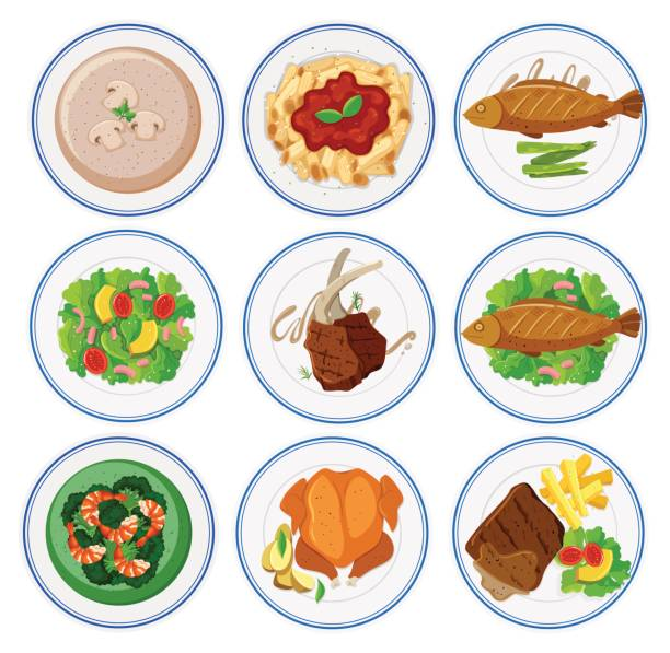 Different types of food on round plates vector art illustration