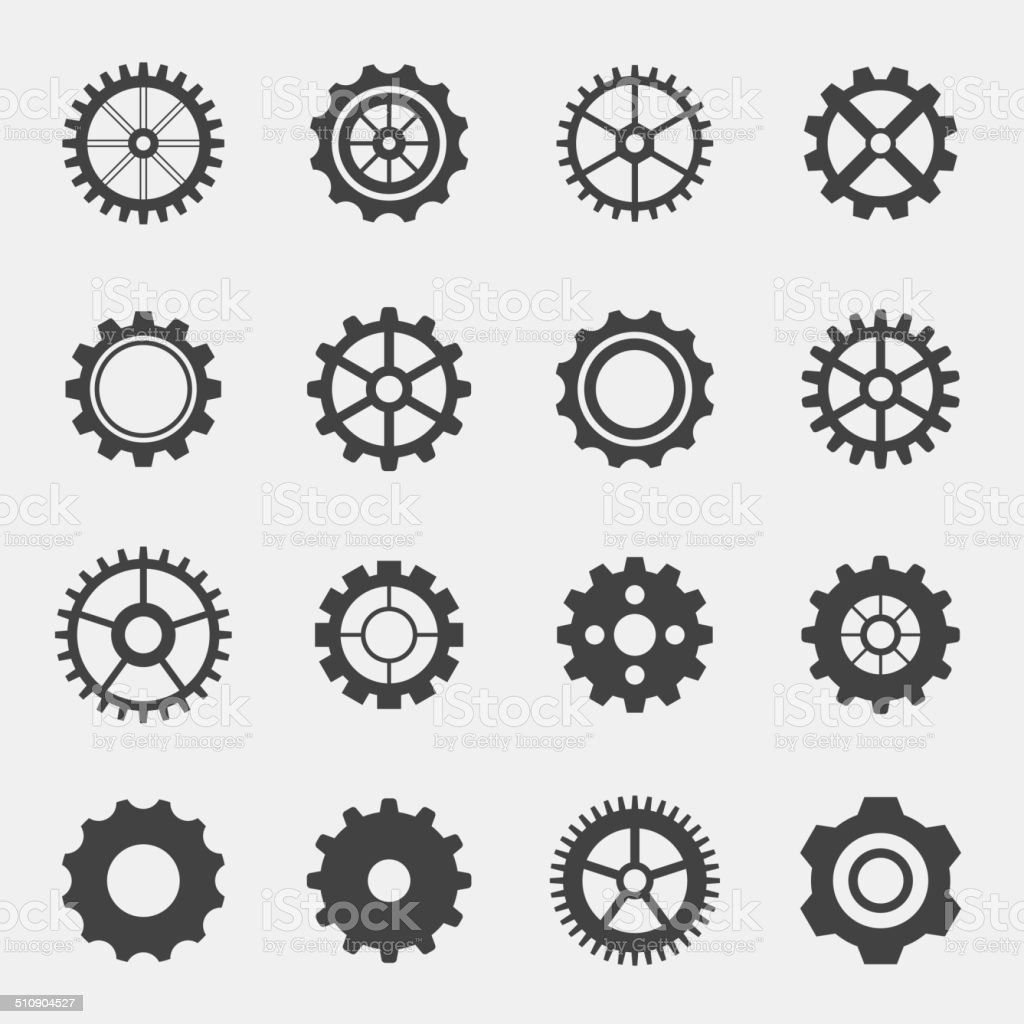 Different types of gears. vector art illustration