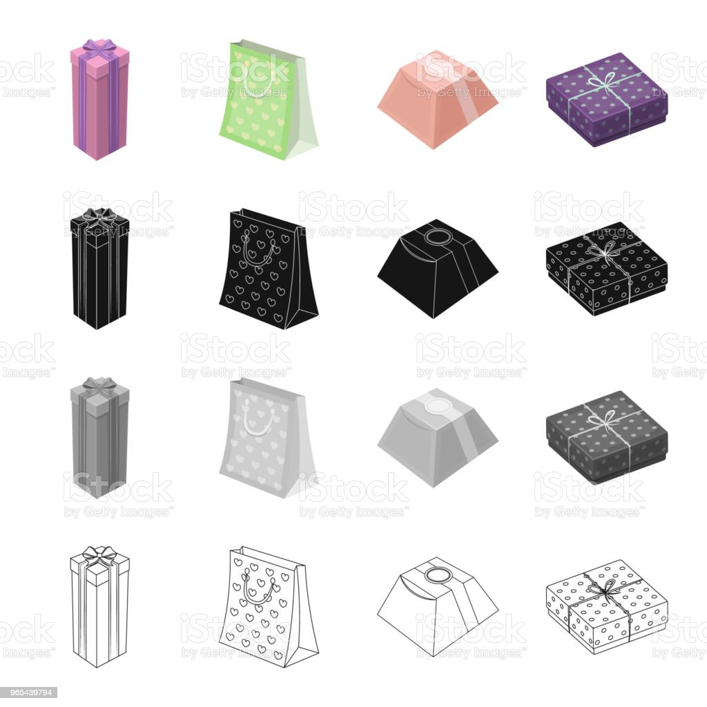 Different types of gift wrapping. Ribbon, bow and packing set collection icons in cartoon black monochrome outline style vector symbol stock isometric illustration web. royalty-free different types of gift wrapping ribbon bow and packing set collection icons in cartoon black monochrome outline style vector symbol stock isometric illustration web stock vector art & more images of anniversary