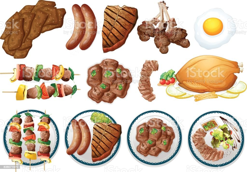 Different types of grilled food vector art illustration