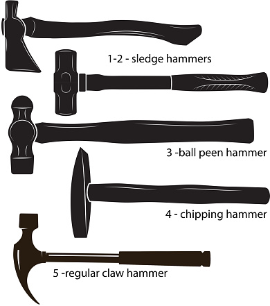 Different types of hammers:  sledge hammers, ball peen hammer, chipping hammer, regular claw hammer. Black and white images, silhouettes.