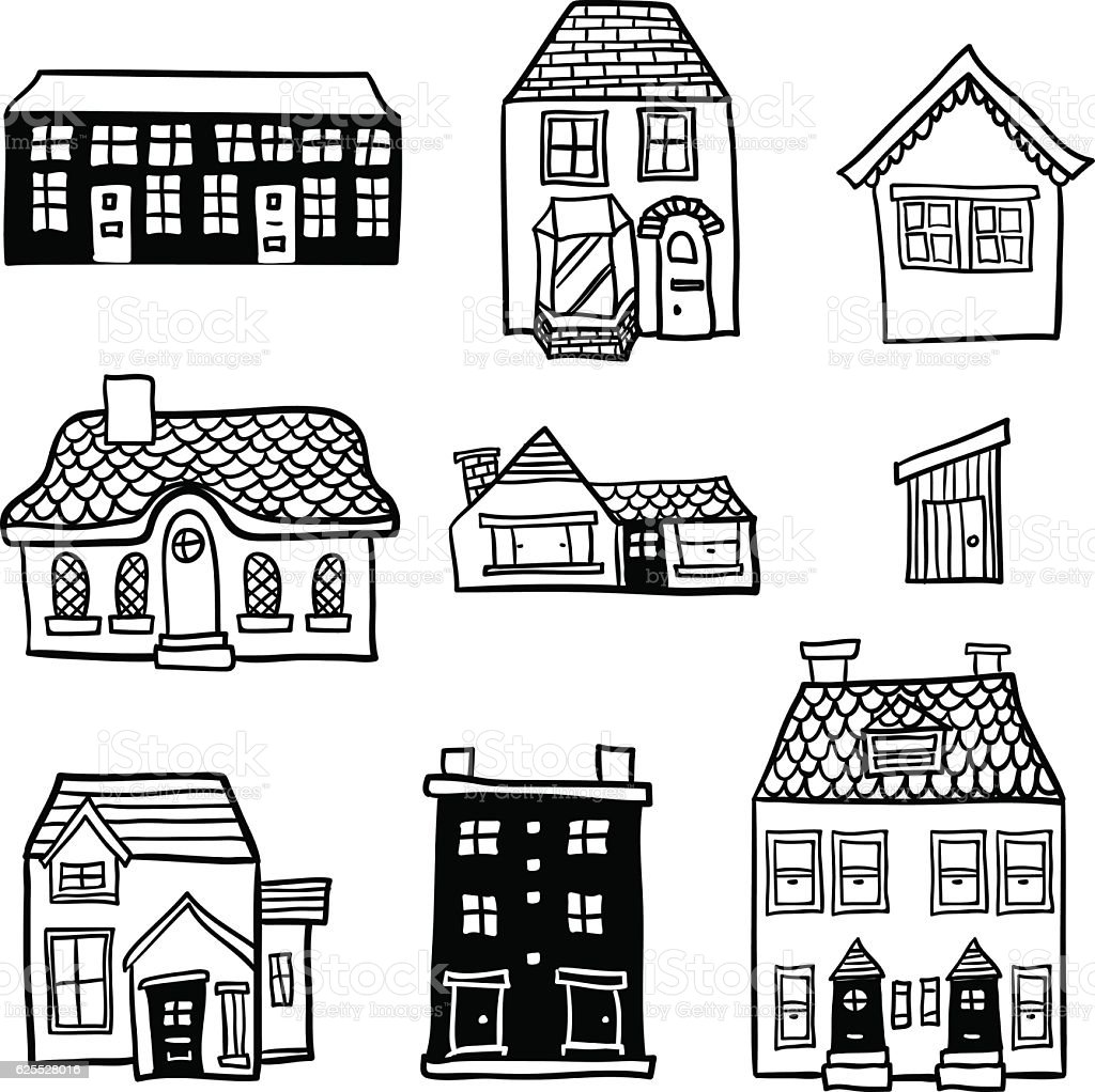 Different Types Of Houses In Black And White Stock