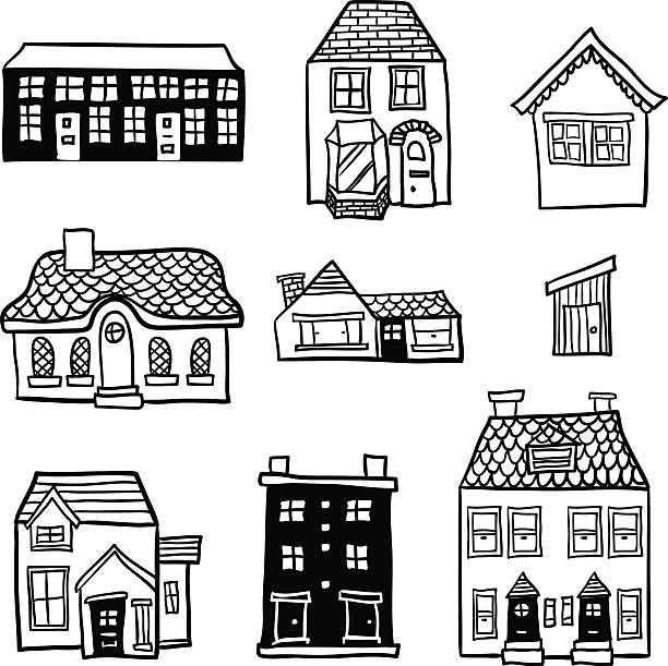 Different types of houses in black and white Different types of houses in black and white cottage stock illustrations
