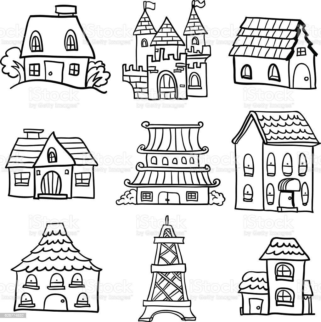 Diversi tipi di case in bianco e nero immagini for Tipi di case