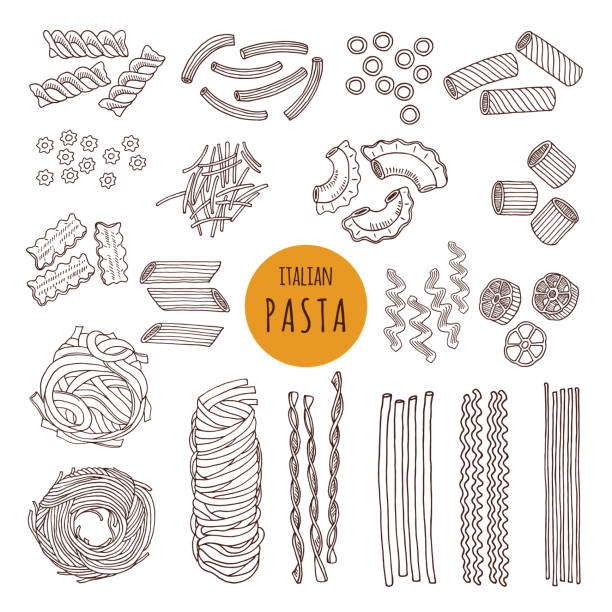 Different types of italian pasta. Hand draw vector illustrations Different types of italian pasta. Hand draw vector illustrations. Sketch food italian pasta, different doodle traditional spaghetti tortellini stock illustrations