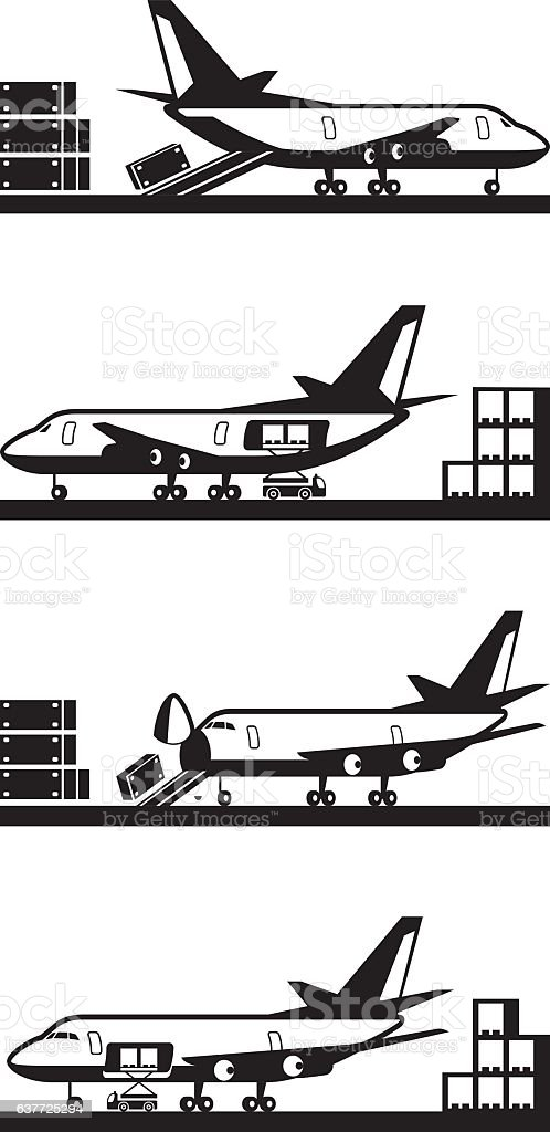 Different types of loading cargo airplane vector art illustration