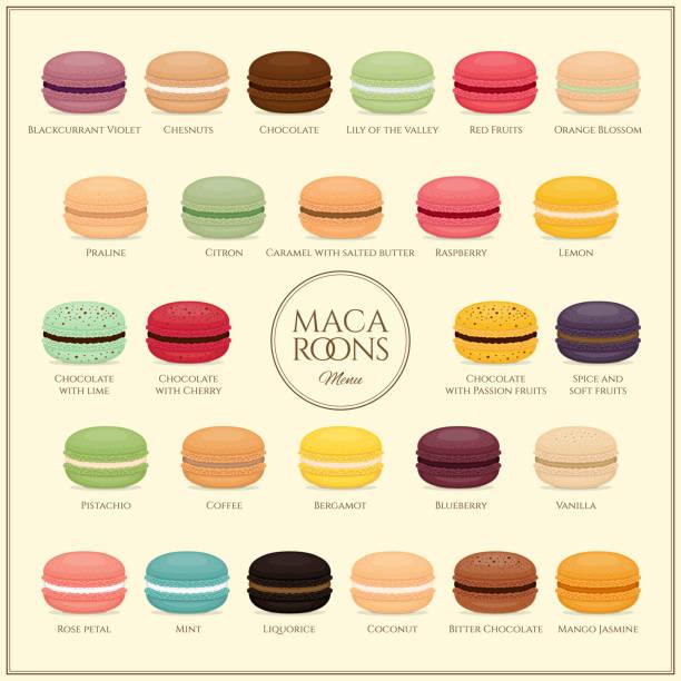 ilustrações, clipart, desenhos animados e ícones de diferentes tipos de biscoitos. menu de biscoitos. conjunto de macarons de bolo de sabor diferente. apartamento estilo, ilustração do vetor. - macaroon