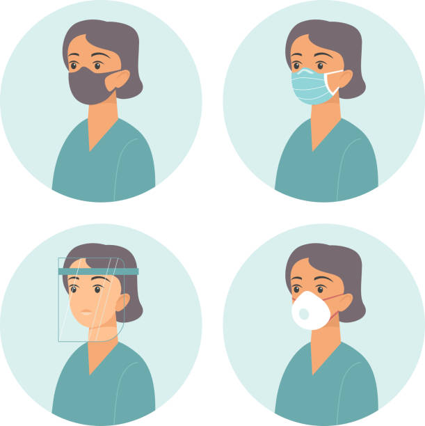 Different types of medical protective face gear. Flat vector concept for coronavirus COVID-19 outbreak vector art illustration