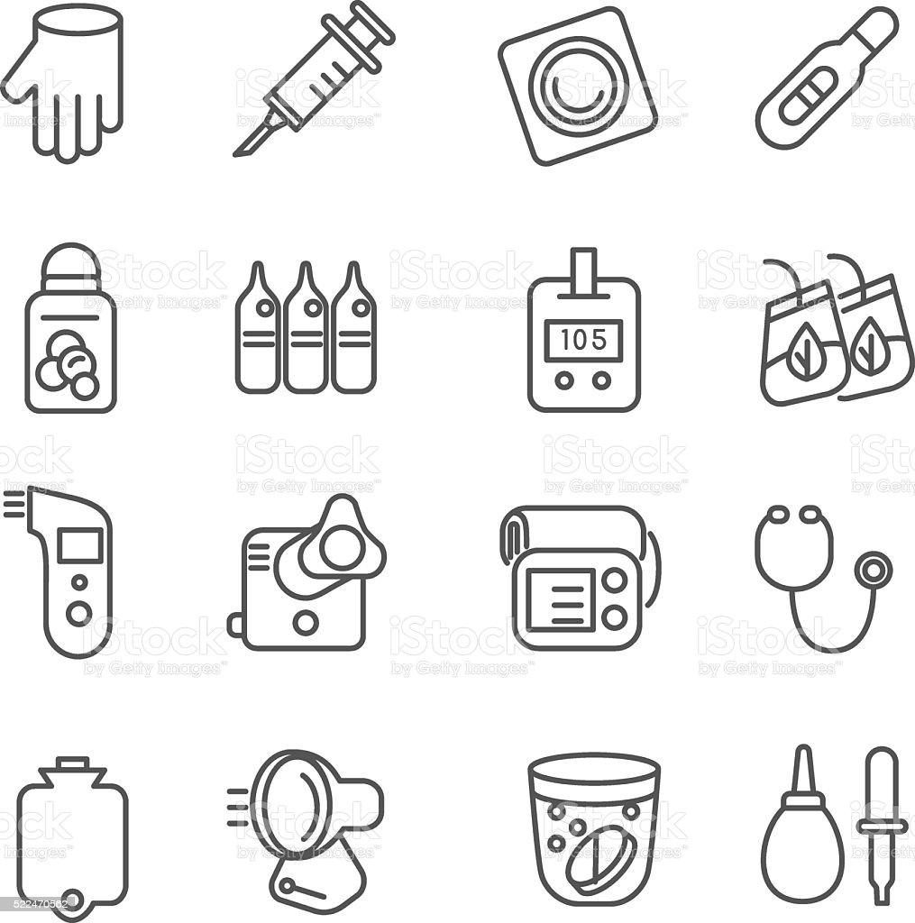 Different types of medicines and medical tools as line icons vector art illustration