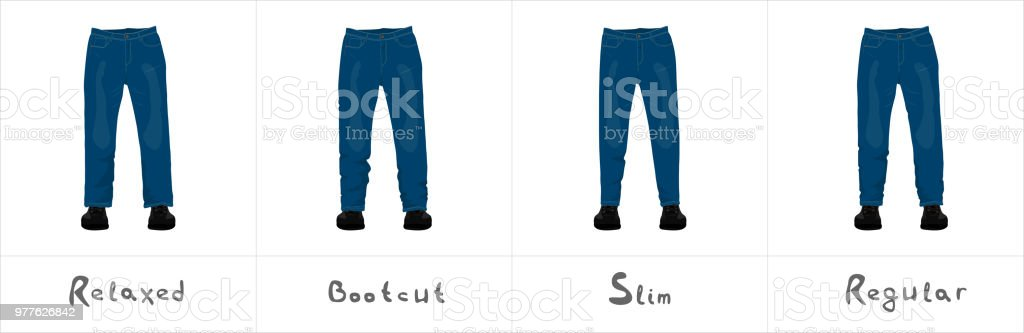 Different types of men's blue jeans front view isolated on white vector illustration vector art illustration
