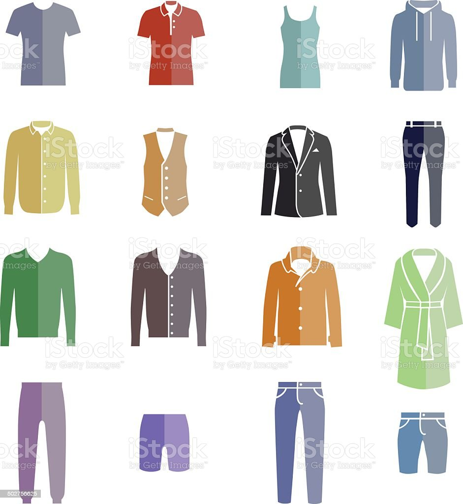 Different types of men's clothes as color icons vector art illustration