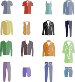 Different types of men's clothes as color icons