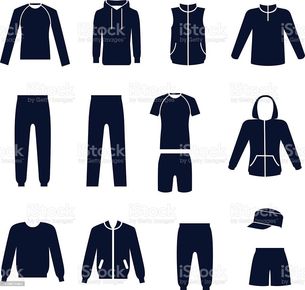 ba0516c0c Różne rodzaje męskie ubrania sportowe różne rodzaje męskie ubrania sportowe  - stockowe grafiki wektorowe i więcej