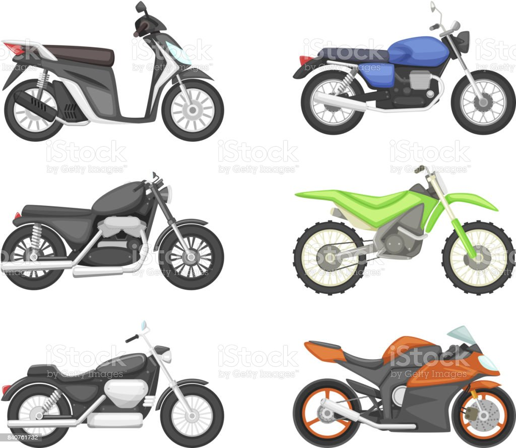 Different Types Of Motorcycles Vector Set Illustrations In Cartoon Style Royalty Free